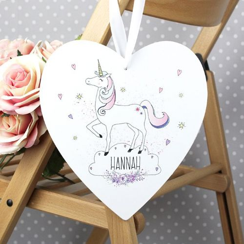 Unicorn Large Wooden Heart Decoration